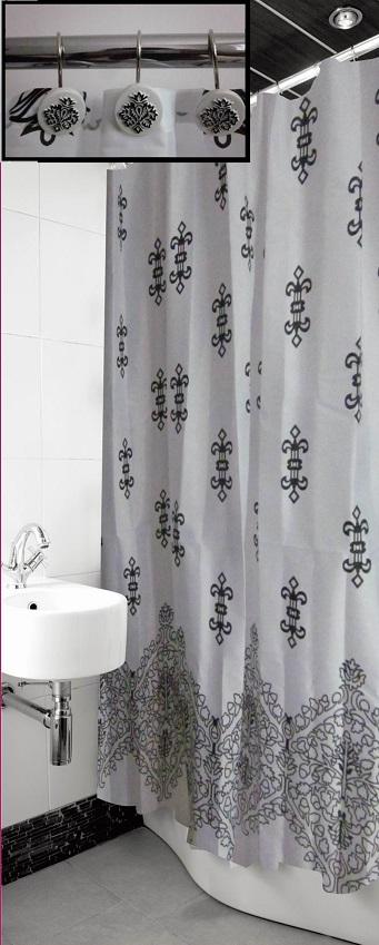 Damask Border Premium Shower Curtain