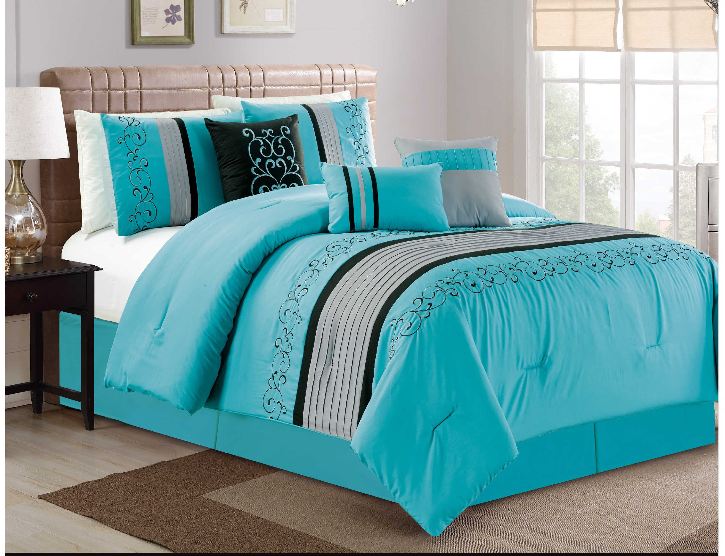 turquoise comforter set king Turquoise Comforter Set   King | National Credit Direct turquoise comforter set king