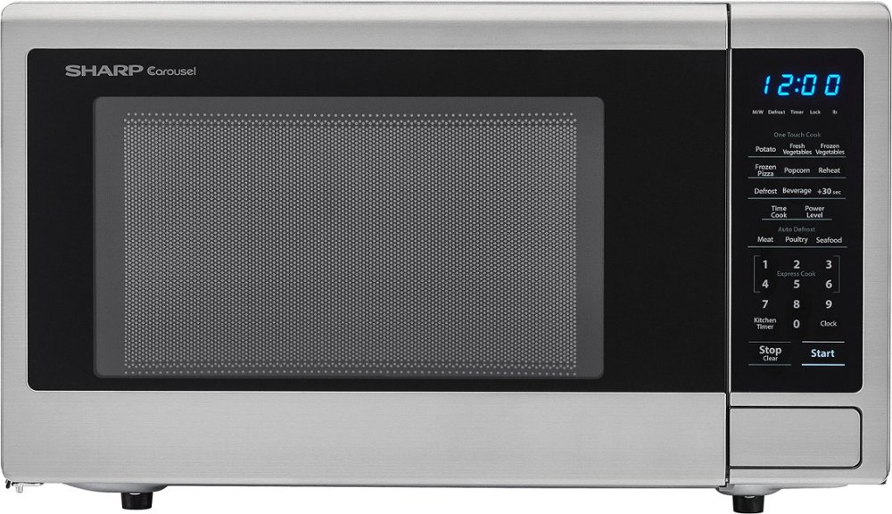 Sharp - Carousel 1.1 Cu. Ft. Mid-Size Microwave - Stainless steel
