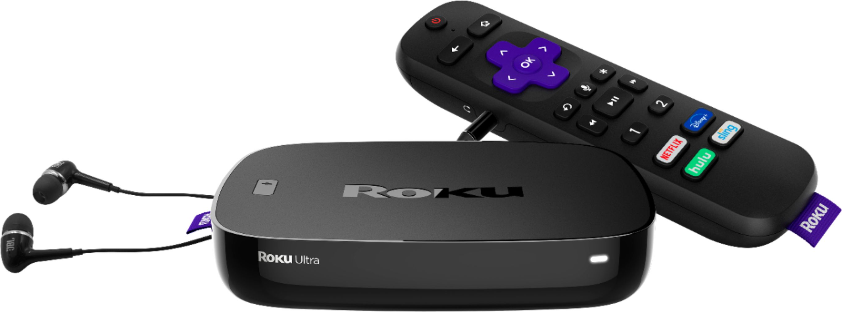 Roku - Ultra 4K Streaming Media Player with JBL Headphones and Enhanced Voice Remote - Black