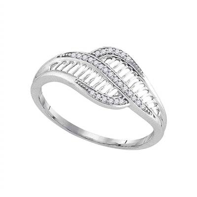 10k White Gold Round Diamond Bypass Fashion Band Ring 1/12 Cttw