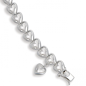 Silver Diamond Open Heart Link Bracelet
