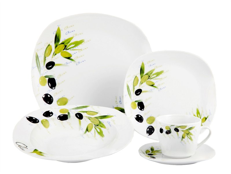 20-Piece Porcelain Square Dinnerware Set -Tuscan | National Credit ...