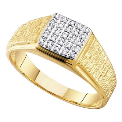 10kt Yellow Gold Mens Round Diamond Square Cluster Brushed Ring 1/8 Cttw