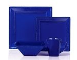16 Piece Square Beaded Stoneware Dinnerware set by Lorren Home Trends - Blue