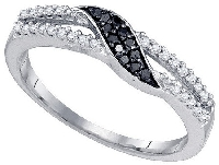 0.19 Cttw, Black & White Diamond Wave Band in 10K White Gold