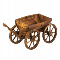 Old Country Wood Barrel Wagon Planter