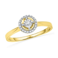 0.08 Cttw, Round Shape Diamond Ring in 10K Yellow Gold