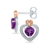Sterling Silver Womens Round Lab - Created Amethyst Diamond Heart Frame Earrings .01 Cttw