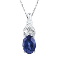 Sterling Silver Womens Oval Lab-Created Blue Sapphire Solitaire Diamond Pendant 7/8 Cttw