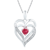 Sterling Silver Womens Round Lab-Created Ruby & Diamond Heart Pendant .01 Cttw