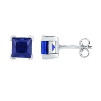 Sterling Silver Womens Princess Lab - Created Blue Sapphire Solitaire Stud Earrings 2.00 Cttw