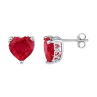 Sterling Silver Womens Heart Lab - Created Ruby Solitaire Heart Stud Earrings 7.00 Cttw