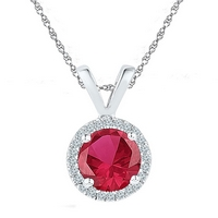 Sterling Silver Womens Round Lab - Created Ruby Solitaire Diamond - Accent Pendant 1.00 Cttw