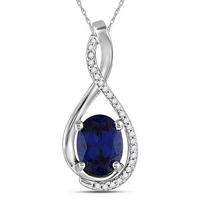 Sterling Silver Womens Oval Lab - Created Blue Sapphire Diamond - Accent Pendant 1 - 5/8 Cttw