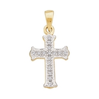 10kt Yellow Gold Womens Round Diamond Small Scalloped Cross Religious Pendant 1/12 Cttw
