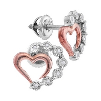 Sterling Silver Womens Round Diamond Rose - Tone Heart Stud Earrings 1/20 Cttw