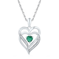 Sterling Silver Womens Round Lab-Created Emerald Heart Pendant 5/8 Cttw