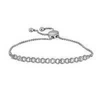 Sterling Silver Womens Round Diamond Infinity Bolo Bracelet 1/20 Cttw