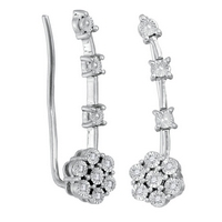 Sterling Silver Womens Round Diamond Illusion - Set Cluster Climber Earrings 1/20 Cttw