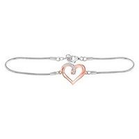 Sterling Silver Womens Round Diamond Rose - Tone Heart Bracelet 1/12 Cttw