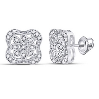 Sterling Silver Womens Round Diamond Square Flower Petals Fashion Earrings 1/8 Cttw