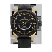 MONTE - Men%27s Giorgio Milano Stainless steel IP Gold with genuine black leather straps