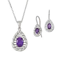 Silver Teardrop Pendant and Earring Set with Genuine Oval-Shaped Amethyst Center Stone