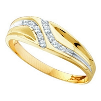 10kt Yellow Gold Round Diamond Double Row Slender Wedding Band 1/8 CTTW