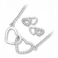 Plain and Clear CZ Double Heart Set