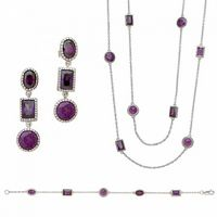 Silver Vintage Multi Shape Design Set with Purple Colored