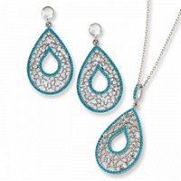 Silver Web Design Teardrop Turquoise Set