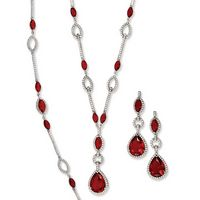 Silver Rhodium Classic Set with Marquise Red Cubic Zirconia