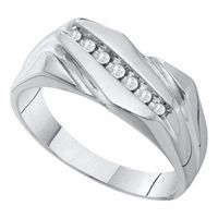 10K White Gold Diamon Men%27s Ring 1/8 CTTW