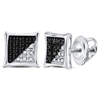 Sterling Silver Mens Round Black Color Enhanced Diamond Square Kite Earrings 1/10 Cttw