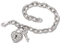 Victorian Heart Lock & Key Pendant and Bracelet Set with Clear CZ