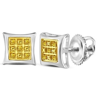 Sterling Silver Womens Round Yellow Color Enhanced Diamond Square Kite Stud Earrings .03 Cttw