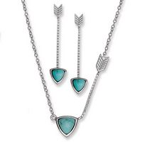 Silver Dangling Turquoise Triangle Set