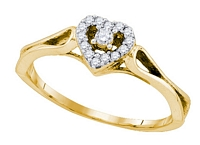0.12 Cttw, Heart Diamond Ring in 10K Yellow Gold