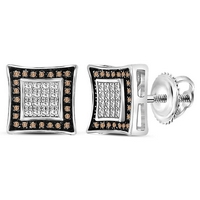 Sterling Silver Mens Round Brown Diamond Square Stud Earrings 1/20 Cttw