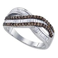 Sterling Silver Baguette Brown Diamond Crossover Band Ring 5/8 Cttw