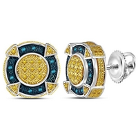 Sterling Silver Mens Round Yellow Blue Color Enhanced Diamond Circle Cluster Earrings 1/8 Cttw