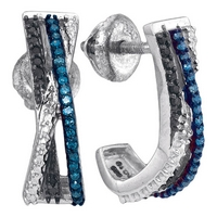 Sterling Silver Womens Round Blue Black Color Enhanced Diamond Stripe Half J Hoop Earrings 1/5 Cttw