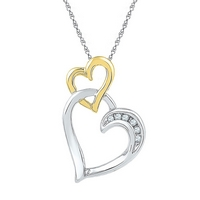 Two-tone Sterling Silver Womens Round Diamond Double Heart Pendant .03 Cttw