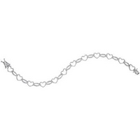 Sterling Silver Womens Round Diamond Heart Outline Link Bracelet 1/6 Cttw