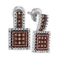 Sterling Silver Womens Round Brown Diamond Square Cluster Earrings 1/5 Cttw