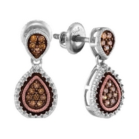 Sterling Silver Womens Round Brown Diamond Teardrop Dangle Earrings 1/5 Cttw