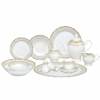 Elegant White & Gold Porcelain Dinnerware Set
