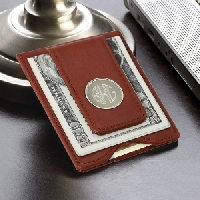 Men%27s Personalized Brown Money Clip & Credit Card Holder