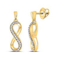 10k Yellow Gold Round Diamond Infinity Dangle Earrings 1/10 Cttw